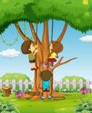 Muchachos y muchacha que suben para arriba el árbol Fotografía de archivo