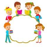 Muchachos y muchachas con el libro y el marco Imagen de archivo