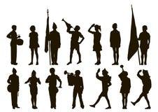 Muchachos y muchachas del adolescente del explorador del pionero de la silueta stock de ilustración