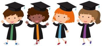 Muchachos y muchachas en vestido de la graduación stock de ilustración