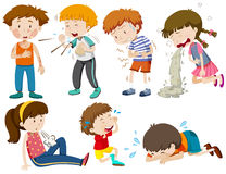Muchachos y muchachas que están enfermos stock de ilustración