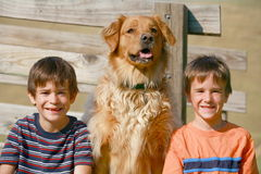 Muchachos y perro Fotos de archivo