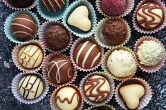 Muchas almendras garapiñadas del chocolate de la variedad, gourm belga de la confitería fotos de archivo libres de regalías