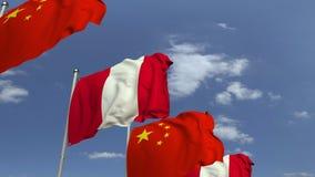 Muchas banderas de Perú y de China, animación loopable 3D almacen de video