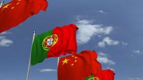 Muchas banderas de Portugal y de China, animación loopable 3D metrajes