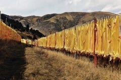Muchas banderas del rezo del tibetano en la ladera Foto de archivo libre de regalías