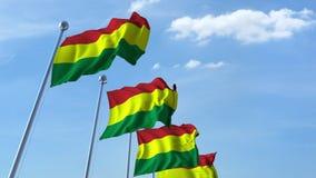 Muchas banderas que agitan de Bolivia Animación de Loopable 3D metrajes