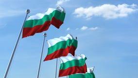 Muchas banderas que agitan de Bulgaria Animación de Loopable 3D ilustración del vector