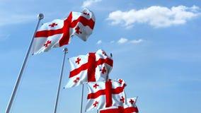 Muchas banderas que agitan de Georgia Animación de Loopable 3D almacen de metraje de vídeo