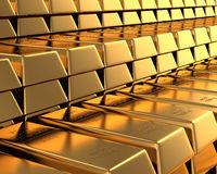 Muchas barras de oro Foto de archivo