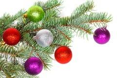 Muchas bolas coloreadas en la rama del abeto del árbol de navidad Fotografía de archivo