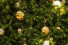 Muchas bolas de espejo adornan en árbol verde de las hojas y sistema de la iluminación Fotos de archivo