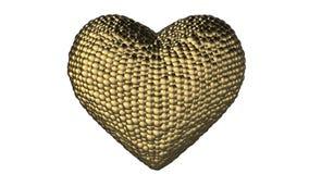 Muchas bolas del oro se forman en un corazón de oro 3d que palpite y bata En el extremo se rompe en pedazos ilustración del vector