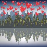 Muchas bolas rojas del gel vuelan contra la silueta de una ciudad grande Cielo brillante de la ma?ana Amantes que celebran el vec stock de ilustración