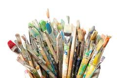 Muchas brochas usadas Imagen de archivo libre de regalías