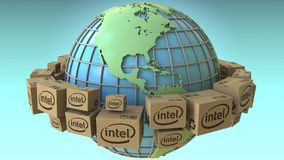 Muchas cajas con el logotipo de Intel en todo el mundo, América acentuaron Representación conceptual del editorial 3D stock de ilustración