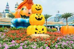 Muchas calabazas y caras de oro talladas en el parque al cerebrate Halloween Imágenes de archivo libres de regalías