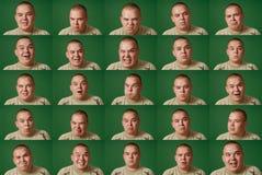 Muchas caras (fondo del chromakey, fáciles cortar) Imagen de archivo