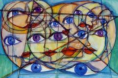 Muchas caras, ojos y dimensiones de una variable Imagen de archivo