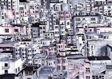 Muchas casas de la ciudad Fotografía de archivo