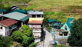 Muchas casas en la colina en Ifugao, Filipinas Fotografía de archivo libre de regalías