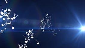 Muchas diversas notas musicales blancas vuelan Fondo para una tarjeta de la invitación o una enhorabuena libre illustration