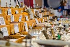 Muchas especias en el mercado árabe Fotografía de archivo