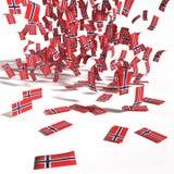 Muchas etiquetas y banderas de Noruega Imagen de archivo libre de regalías