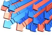 Muchas flechas a descender Foto de archivo libre de regalías