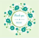 Muchas flores azules con el texto - gracias, momia Imágenes de archivo libres de regalías
