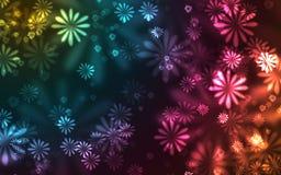 Muchas flores coloridas que brillan intensamente en un fondo oscuro ilustración del vector