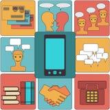 Muchas funciones llevan un teléfono móvil moderno. Imagen de archivo