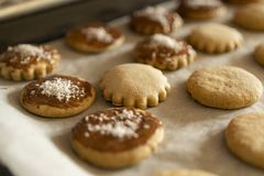 Muchas galletas y pan de jengibre cocidos en la bandeja que cuece, adornada con las escamas del chocolate y del coco imagen de archivo