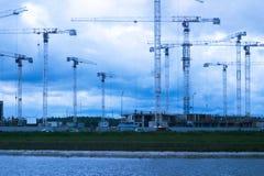 Muchas grúas de construcción Fotografía de archivo libre de regalías