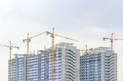 Muchas grúas están construyendo el edificio Fotografía de archivo