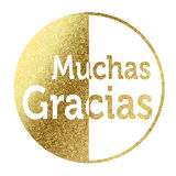 Muchas Gracias in golden Royalty Free Stock Photo