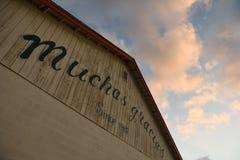 Muchas Gracias, tacka dig, undertecknar in spanjor, Rockport, Texas, USA arkivfoton