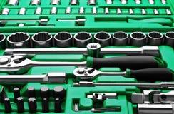 Muchas herramientas en caja de herramientas imagen de archivo libre de regalías