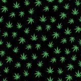 Muchas hojas del cáñamo Hojas del verde en un fondo negro libre illustration