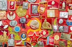 Muchas insignias de Unión Soviética Fotos de archivo libres de regalías