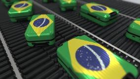 Muchas maletas del viaje que ofrecen la bandera del Brasil stock de ilustración