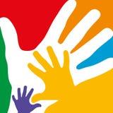 Muchas manos coloridas Imagenes de archivo