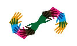 Muchas manos juntas agrupan y haciendo forma del infinito libre illustration