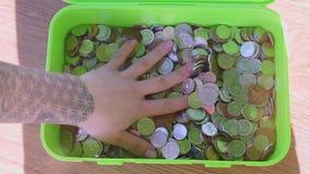 Muchas monedas de diversos estados almacen de video