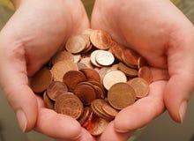 Muchas monedas euro del centavo Imagen de archivo libre de regalías
