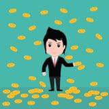 Muchas monedas, hombre de negocios tienen muchas monedas Foto de archivo libre de regalías