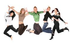 Muchas muchachas de salto en el blanco, collage Foto de archivo