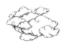 Muchas nubes en un fondo blanco Foto de archivo libre de regalías