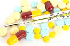 Muchas píldoras y medicinas Fotografía de archivo