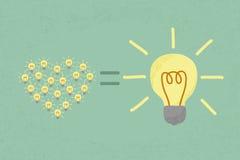 Muchas pequeñas ideas igualan una una idea grande Foto de archivo libre de regalías